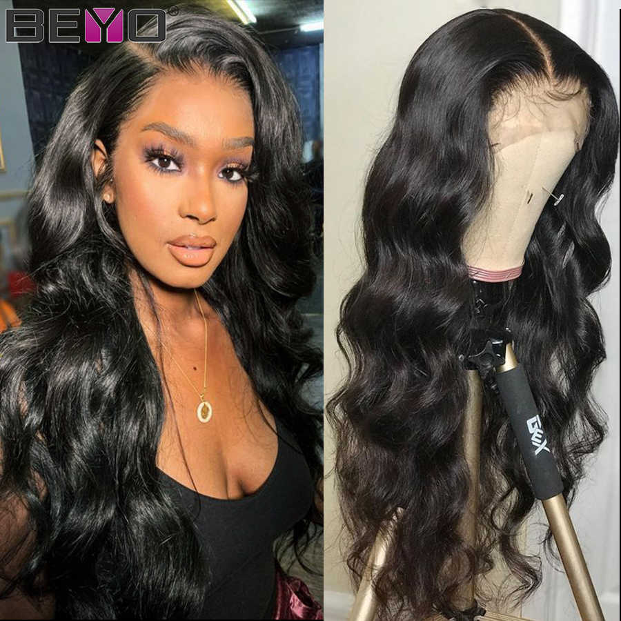 Brazilian Body Wave Lace Frontal Wig Glueless Lace Front Human Hair Wigs Pre Plucked 150 180 250 Density Lace Wigs Beyo Remy