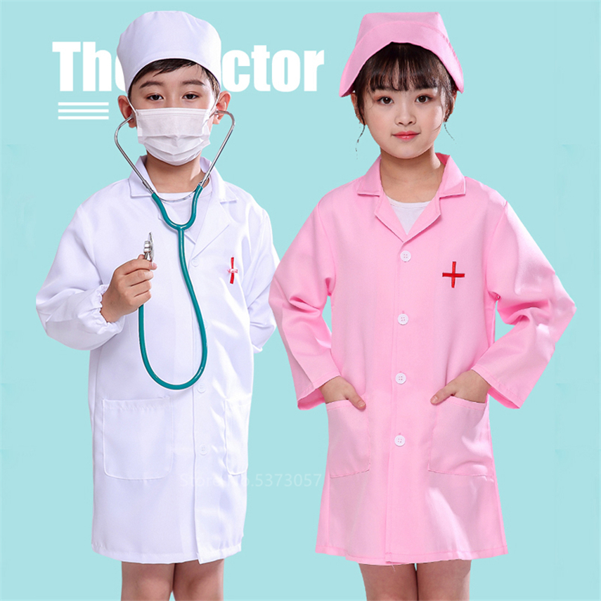 Children Surgical Doctor Nurse Uniform Cross Coat Halloween Costume For Kids Hospital Cosplay Baby Girl Boy Toys Set Fancy Party