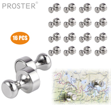 PROSTER 16PCS for Push Pins Silver Magnets Brushed Nickel Push Pin Strong Magnets for Refrigerator,Whiteboard, Map, Calendar