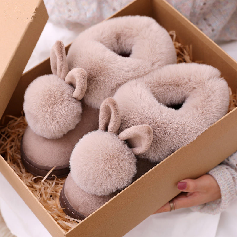 Autumn Winter Cotton Slippers Fur Rabbit Home Warm Thick Bottom Indoor Cotton Shoes Womens Slippers Cute Fluffy Cat Slippers(China)