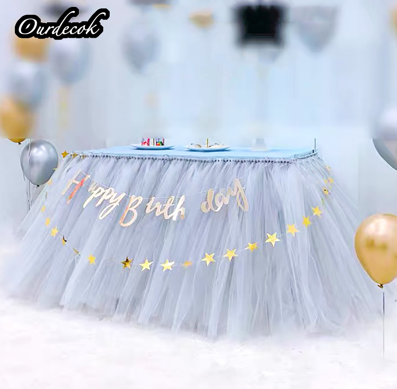 Tulle Tutu Table Skirt Tableware For Wedding Decoration Baby Shower Party Wedding Table Skirting Home Textile Finished Product