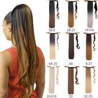 Cola de pelo postizo largo y liso para mujer, extensión de cabello sintético ombré, cola de poni con Clip, cola de caballo rizada