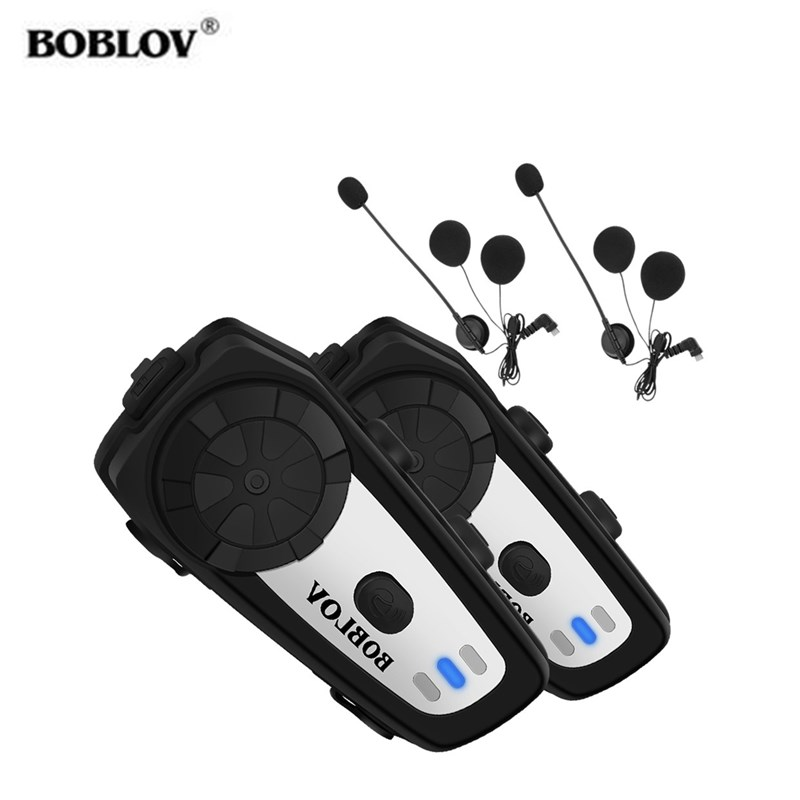 BOBLOV M6 Moto Helmet Headset 2 Pcs Bluetooth Motorcycle Helmet Headset Wireless Handsfree Communication System For Rider FM MP3