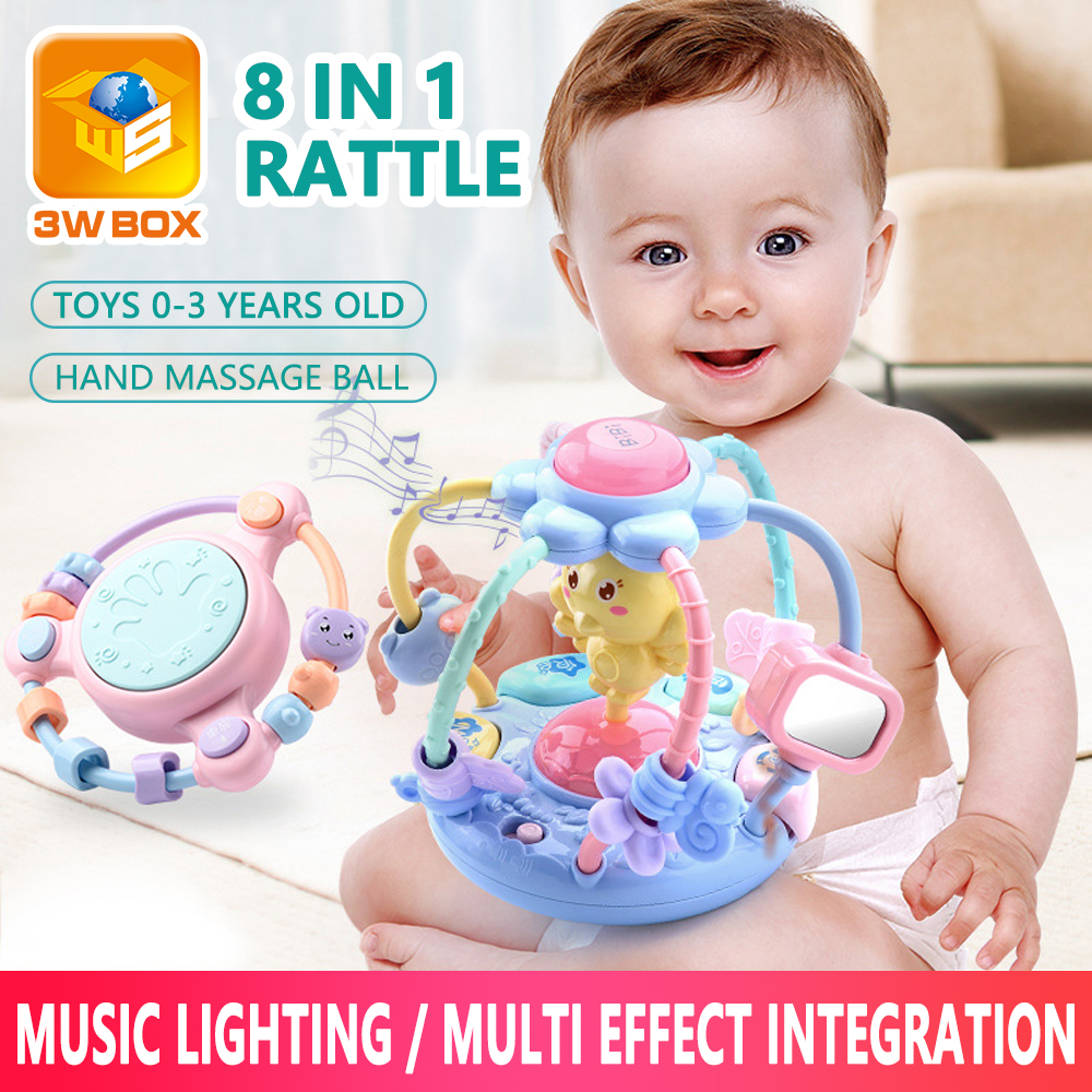Teething Rattles Baby Toys 3-6-12 Months Newborn 0-1 Years Old Education Puzzle Sound Light Hand Catch Ball Safe Infant Baby Toy
