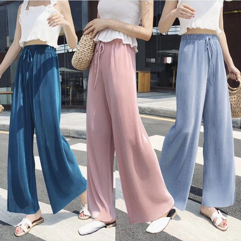 Fashion Ice Silk Chiffon Pleated Wide Leg Pants For Women Autumn Loose Casual Elastic Waist  Pants Trousers