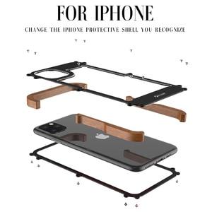 Image 5 - R Just 알루미늄 금속 케이스 For iPhone 12 Pro 최대 충격 방지 케이스 For iPhone 11 Pro Max Xs XR 8 7 6 목재 + 금속 안티 노크 커버