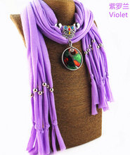 Art glass pendant New glazed scarf fashionable oil-dripping mixed colour accessories ladys shawl Necklace