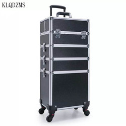 KLQDZMS Women's large capacity Multilayer Cosmetic Case,Makeup artist Toolbox Nails Tools box Beauty tattoo trolley case