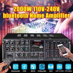 2000W 110-240V Amplificatore di Potenza Bluetooth Sistema Audio Audio Stereo Ricevitore Usb di Sostegno Fm Bluetooth di Deviazione Standard 4 ingresso Mic
