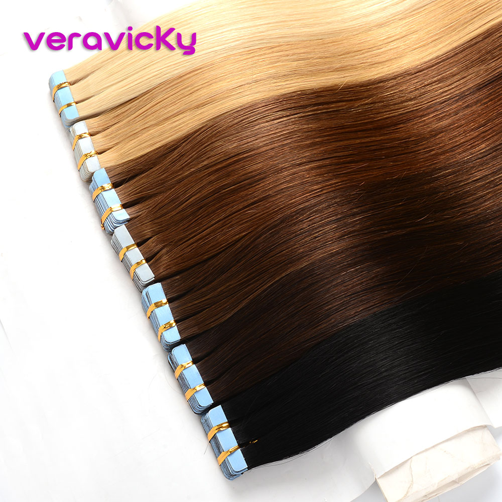 Human-Hair-Extensions Adhesive Blonde Seamless-Ash Tape-In Veravicky Natural Real European