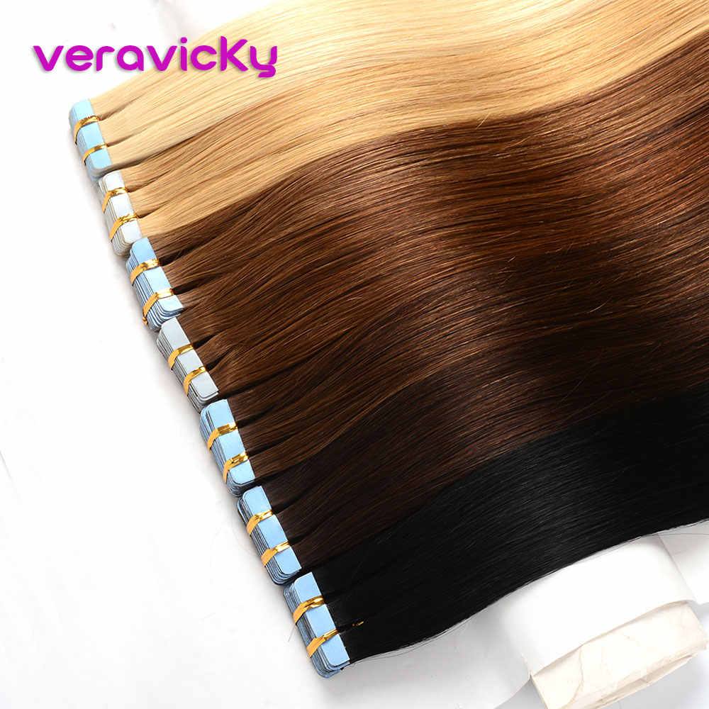 Veravicky Remy Tape In Human Hair Extensions Natural Real Hair Invisible Seamless Ash Blonde European Adhesive Hair Extensions