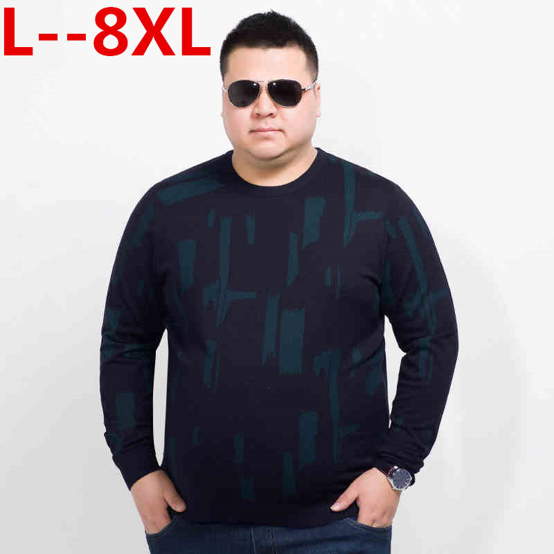 10XL 8XL 6XL 5XL Autumn Casual Men's Sweater O-Neck Striped Loose Fit Knittwear Mens Sweaters Pullovers Pullover Men Pull Homme