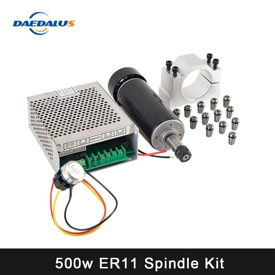 Cnc spindle 500 w refrigerado a ar roteador do eixo 110 v/220 v ajustável mach3 fonte de alimentação 52mm braçadeira 13 pces er11 collet para mahince ferramenta