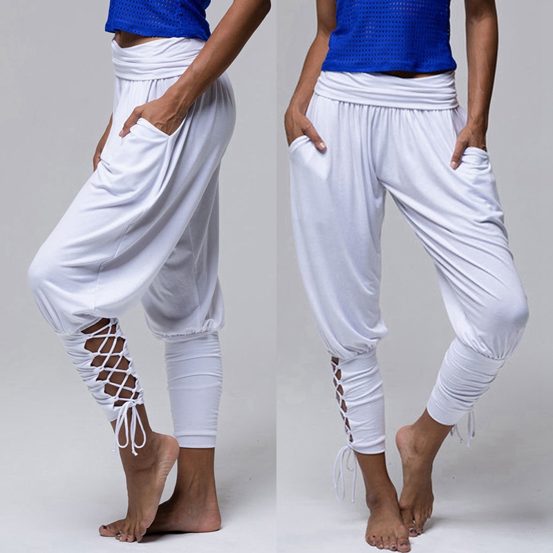 2019 Leggins Pilates Pants Women Soft Solid Lace Up Jogger Harem Pants Gym Fitness Loose Bandage High Waist Pocketed Pant