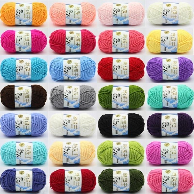100 Meters Milk Cotton Wool Pure Cotton Baby Wool Hat Scarf Thread Cushion Thread Medium Thick Thread Hand Knitted