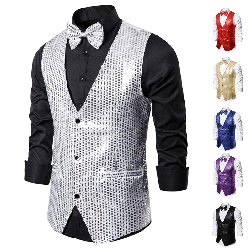 Oeak Fashion Mens Shiny Sequin Glitter Suit Vest  With Bow Tie Wedding Party Slim Fit Waistcoat DJ Club Stage Costume 2XL 2019
