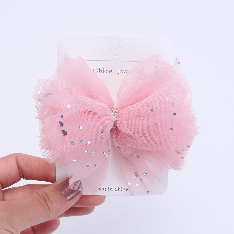 2 Piece Girls Hair Clips Hair Accessories Shinny Gauze Children Hair Barrettes Cute Kids Hairpins High Quality Birthday Gift