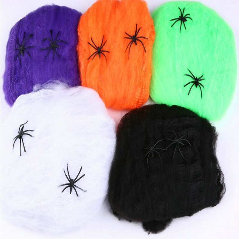 Stretchy Horrible Scary Spider Web Cobweb Bar Haunted House Scene Props Arranged Decor Halloween Party Decoration Holiday DIY