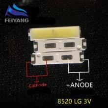 500 pces para lg smd 8520 led innotek led luz de fundo 0.5w 8520 3v branco fresco 50 55lm tv aplicação