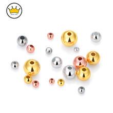 10 шт/лот круглые бусины из серебра 925 пробы золото/серебро/розовое