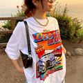 Weiß Übergroßen T Hemd Frauen 2021 Sommer Harajuku Brief Auto Print Kurzarm Graphic Tee Shirt Femme Plus Größe Tops t-shirts