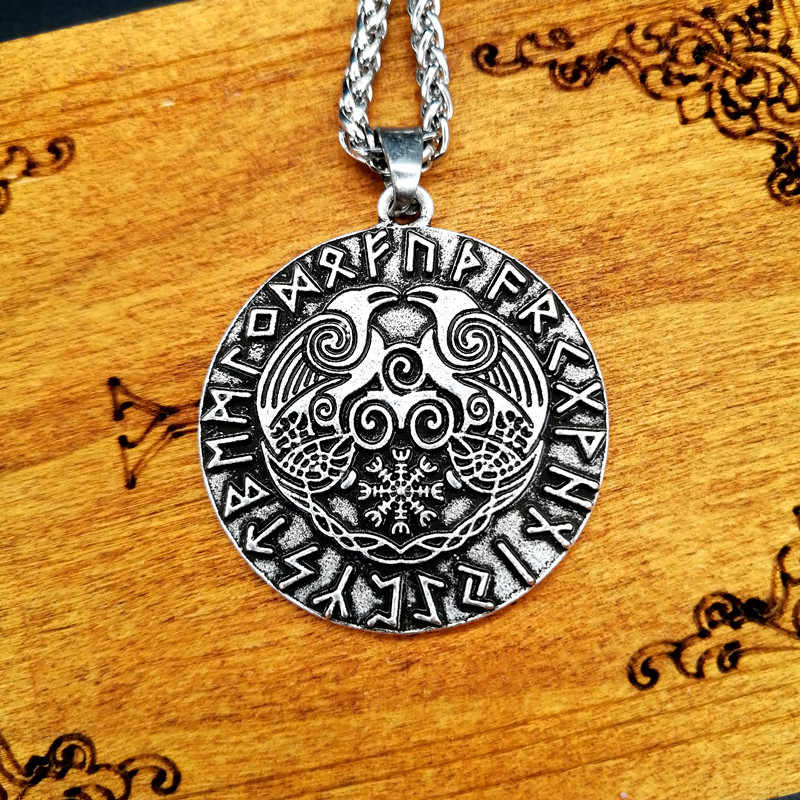 Odin Raven Rune naszyjnik Viking Pagan biżuteria Vintage