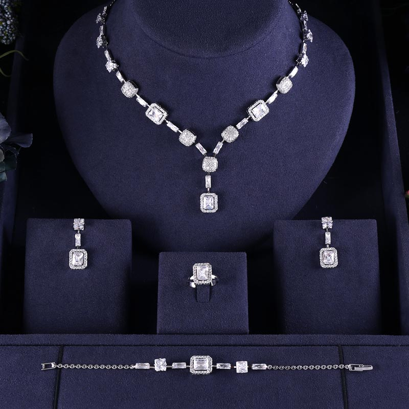 Jewelry-Sets Jankelly Crystal Dubai Bridal-Zirconia Nigeria 4pcs Women for Party Luxury
