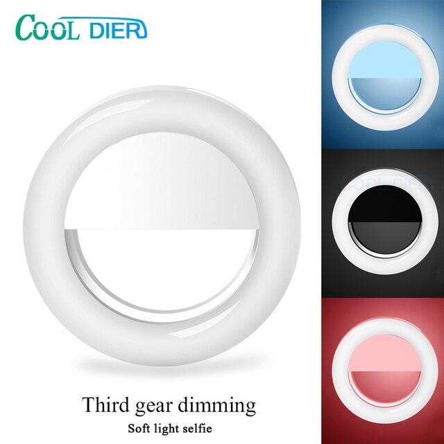 Светодиодный кольцевой светильник для селфи COOL DIER, портативный Ночной светильник, заполняющий светильник, USB зарядка, мобильный телефон, камера для фотографии, видео, точечный светильник, объектив
