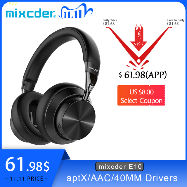 Mixcder E10 سماعة رأس لاسلكية AptX الكمون المنخفض مع المصغّر USB Bluetooth5.0 ANC عميق باس الموسيقى الألعاب سماعة أذن