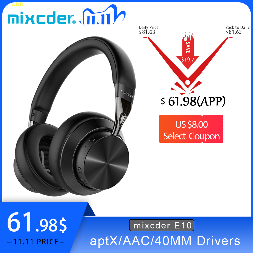 Mixcder E10 Wireless Headphone AptX Low Latency With Micro USB Bluetooth5 0 ANC Deep Bass Music Gaming Over ear Headset