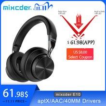 Mixcder e10 aptx fone de ouvido sem fio baixa latência com micro usb bluetooth5.0 anc gaming música graves profundos sobre fone de ouvido