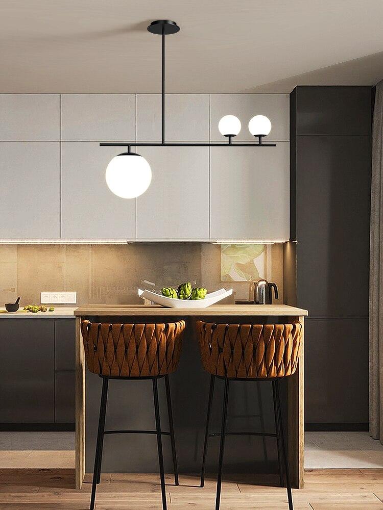 Image 4 - Modern Nordic Simple Black/Golden LED bedroom Pendant lights home decor Glass Ball Hanging lamps Dining room lighting fixturesPendant Lights   -