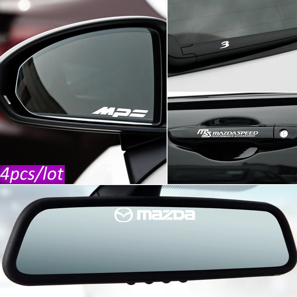 Автостайлинг, 4 шт., автомобильные наклейки на дверную ручку, автомобильные наклейки на зеркало заднего вида для Mazda Axela Atenza Demio 2 3 5 6 MS M2 M3 CX-5 MPS