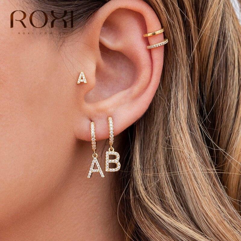 ROXI 1PC 26 English Letters Zircon Ear Piercing Earring 925 Sterling Silver Initial Ear Buckle Hoop Earrings For Women Jewelry