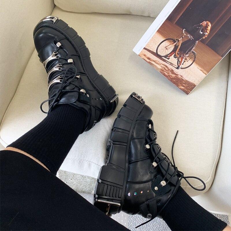Jady Rose Style Punk Femmes Baskets à lacets 6CM Chaussures à Plateforme Femme Creepers Femme décontracté Chaussures Plates En Métal Décor Tenis Feminino - 4