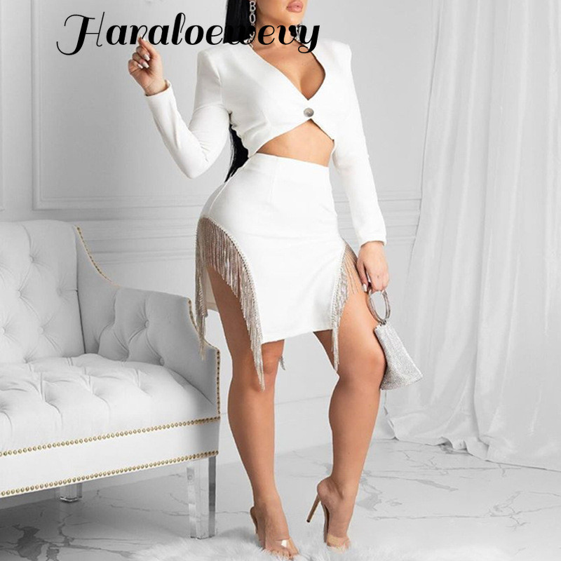 Ladies fashion sexy party suit deep v-neck <font><b>top</b></font> and sexy <font><b>tassel</b></font> design mini <font><b>skirt</b></font> 2 piece <font><b>set</b></font> sexy club outfit image