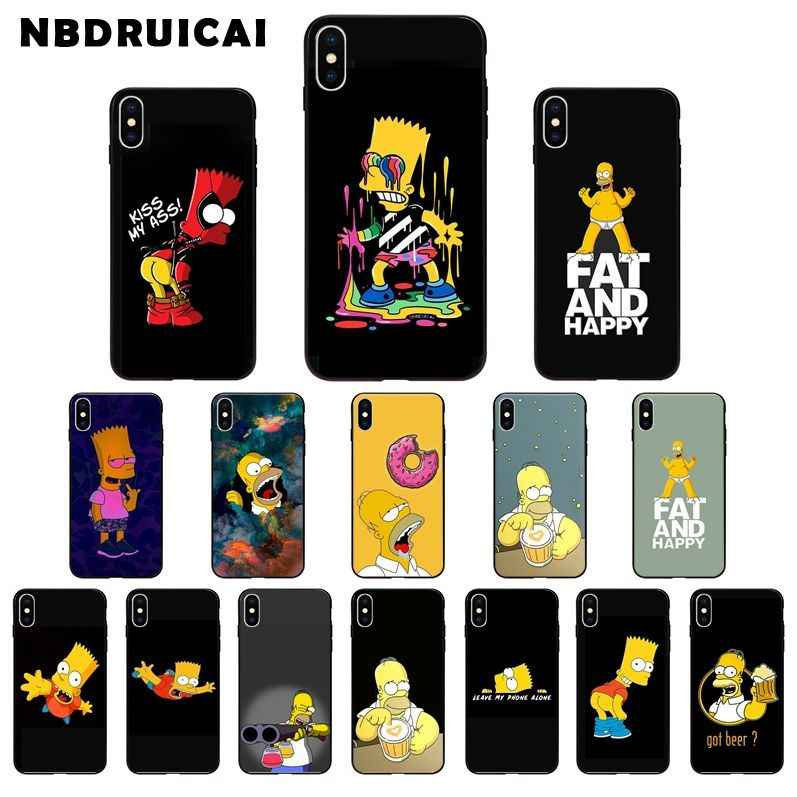 Homer J.Simpson Black Silicone phone Case cover For iPhone X XR XS
