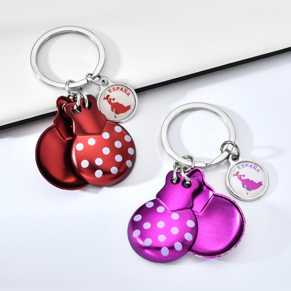 Vicney Castanets Keychain For Girl Cute Clackers Key Chain Best Gift For Women Bag Charm Palillos Keyring Keychain For Friends