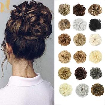 XINRAN syntetyczne przedłużanie Bun Curly Messy Bun Hair Scrunchies eleganckie Chignons ślubne włosy kawałek dla kobiet i dzieci tanie i dobre opinie Wysokiej Temperatury Włókna Kręcone kok Gumka Matowe