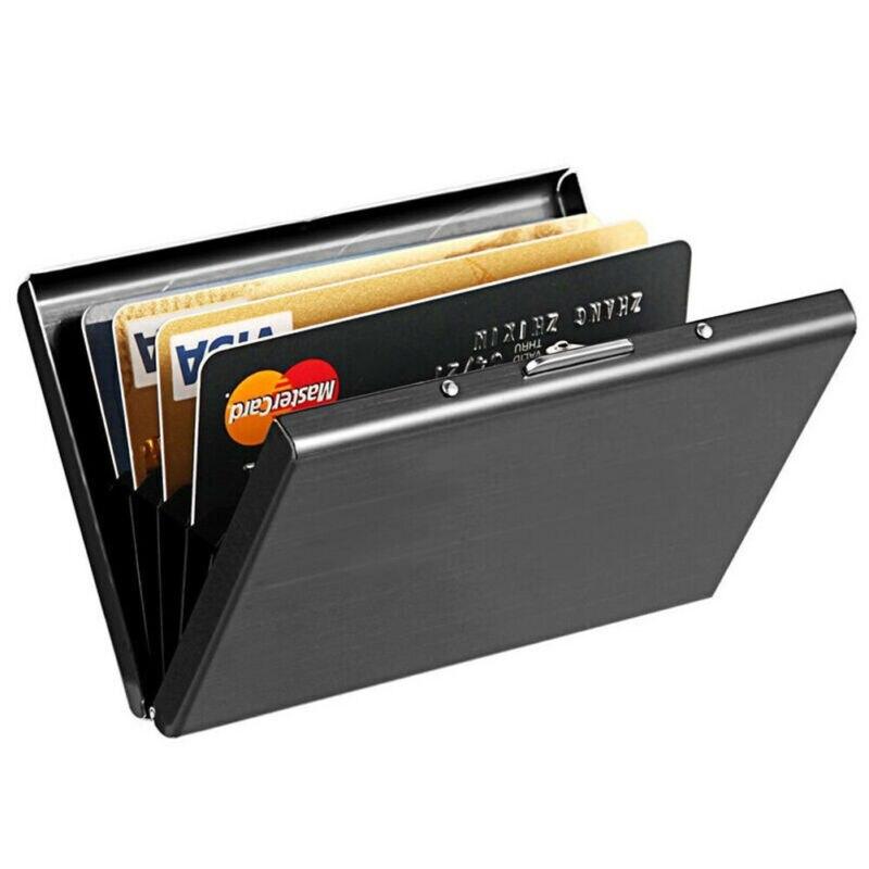 Держатель для кредитных карт тонкий кошелек для путешествий для мужчин из нержавеющей стали Блокировка карт и ID Держатели