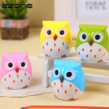 EZONE 1PC Double Orifice Pencil Sharpener Cartoon Owl Modelling Sharpeners Creative Students Stationery 4 Color To Choose