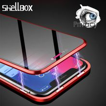 Privacy Tempered Glass Magnetic Case for iPhone 7 8 Plus XS MAX XR X Anti Peep Magnet Metal Bumper Full Body Protection Cover 360 full magnetic protection shell for iphone anti peep case metal frame double sided tempered glass for xs max 7 8 x xs xr