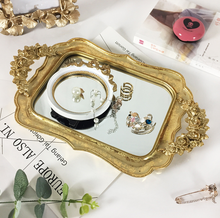 34*20*3.5cm European Retro Mirror Storage Trays Resin Creative Ornament Decoration Trays Pastry Fruit Food Tray Serving Tray retro household rectangular tea fruit tray jewelry luxury resin mirror beauty salon spa essential oil tray serving trays
