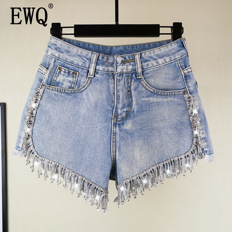 [EWQ] 2020 Spring Summer Shorts Denim Patchwork Tassel Raw High Waist Cowboy Shorts Streetwear Women Fashion Tide AH03605XL