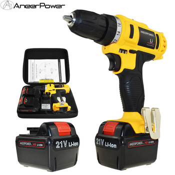 35 N/M Torque 21V Electric Screwdriver Battery Drill Cordless Drill Power Tools Electric Drill Batteries Screwdriver +Woven bag