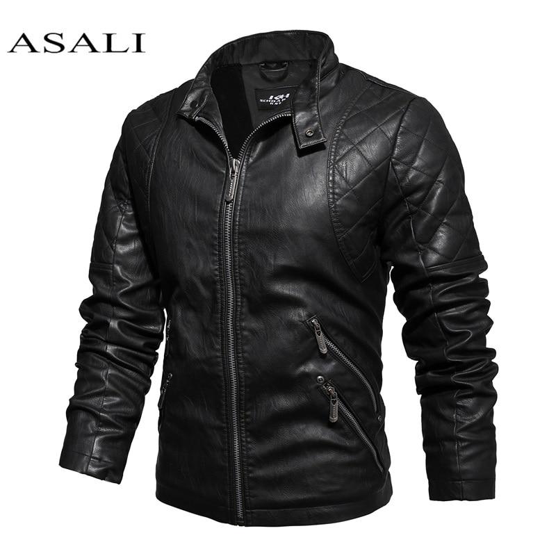 Men New Motorcycle Causal Vintage Leather Jacket Coat Mens Autumn Outfit Fashion Biker Pocket Design PU Leather Jacket Hombres