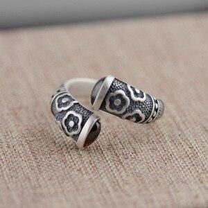 Image 4 - Gqtorch vitnage thai anel de prata 925 anéis de prata esterlina para as mulheres incrustado vermelho granada natural flor de pedra preciosa gravado grenat