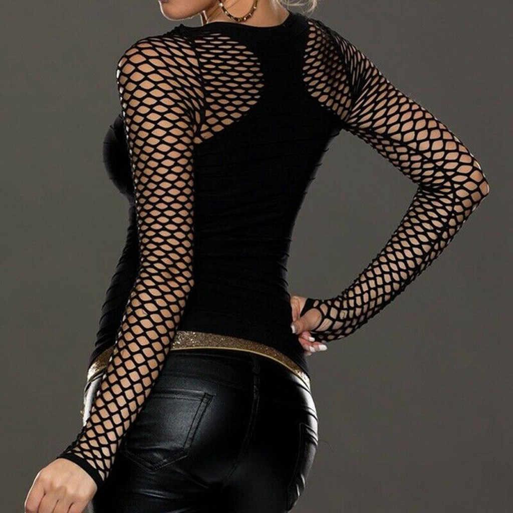 # K20 เซ็กซี่ Fishnet เสื้อ T เสื้อผู้หญิง Slim Low Cut ยาวเสื้อ \ \ \ \ \ \ \ \ \ \ \ \ \ \ \ \ \ เสื้อฤดูใบไม้ผลิฤดูใบไม้ร่วงเสื้อยืด Punk ROCK gothic ตาข่าย Tshirts