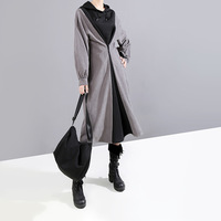 MEVGOHOT 2019 Fashin New Patchwork Hooded Women Dress Elastic Waist Long Sleeve Casual Winter Autumn Buttons Dress Femme HD3080