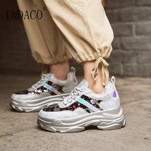 Leather Sequin Platform Sneakers Women White 5.5cm